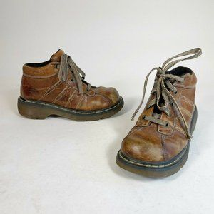 Dr. Martens Womens Airwair Ankle Platform Boots Brown US 8 Lace Up Leather 2C01